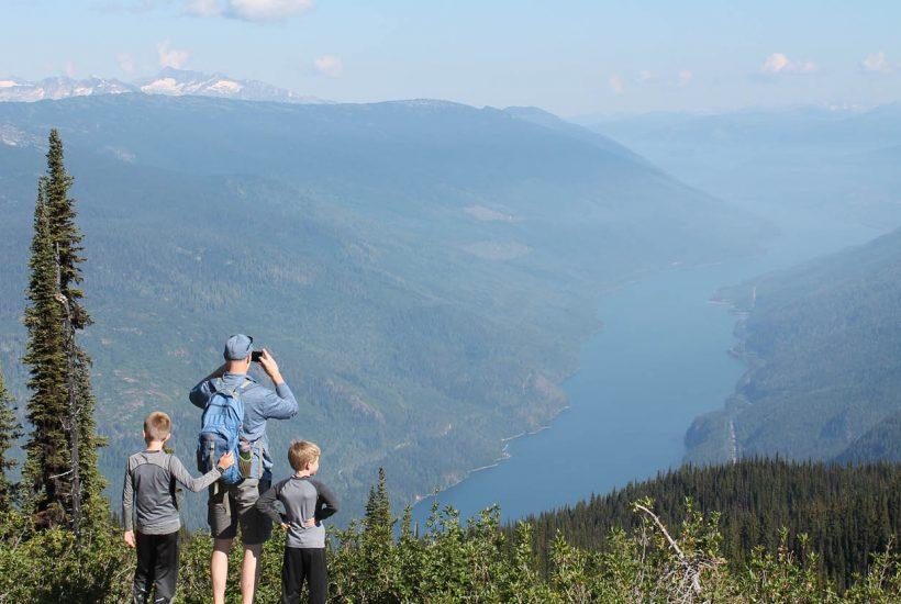 hiking family at viewpoint