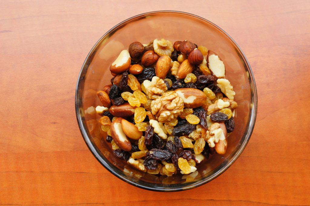 bowl of trail mix; nuts and raisins